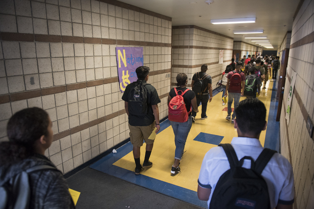 Students walk through the hallways of Cheyenne High School during the first day of school in Las Vegas on Monday, Aug. 29, 2016. Martin S. Fuentes/Las Vegas Review-Journal