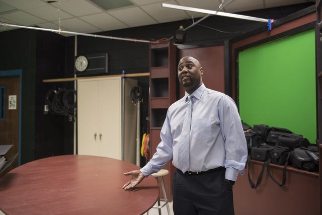 Principle Dr. Zachary Robbins shows off the broadcasting room to a reporter during the first day of school at Cheyenne High School in Las Vegas on Monday, Aug. 29, 2016. Martin S. Fuentes/Las Vega ...