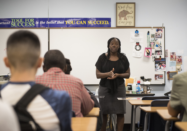 Government teacher Treena Smith speaks to her students during the first day of school at Cheyenne High School in Las Vegas on Monday, Aug. 29, 2016. Martin S. Fuentes/Las Vegas Review-Journal