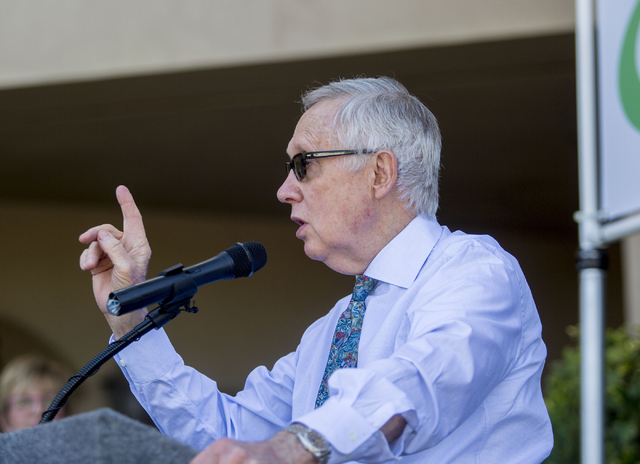U.S. Sen. Harry Reid of Nevada speaks during the opening of the second FirstMed Health and Wellness Center location Tuesday, Aug. 16, 2016, in Las Vegas. Elizabeth Page Brumley/Las Vegas Review-Jo ...
