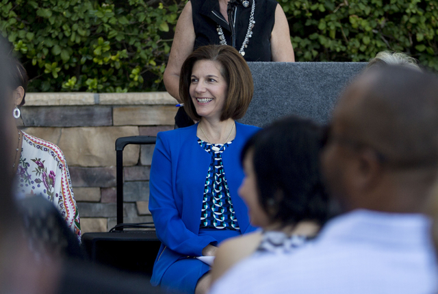 Former Nevada Attorney General Catherine Cortez Masto is introduced during the commencement of the second FirstMed Health and Wellness Center location Tuesday, Aug. 16, 2016, in Las Vegas. Elizabe ...