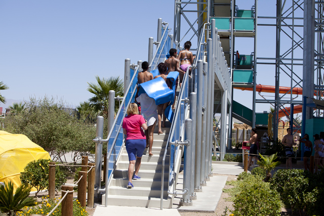 Children reunite with siblings who are still in foster care at the Cowabunga Bay Las Vegas water park in Henderson on Wednesday, June 13, 2016. Loren Townsley/Las Vegas Review-Journal Follow @lore ...