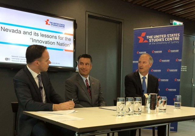 Professor Simon Jackman, chief executive Officer of the United States Studies Centre at the University of Sydney, Nevada Gov. Brian Sandoval and Dr. Bo Bernhard, executive director of the Internat ...