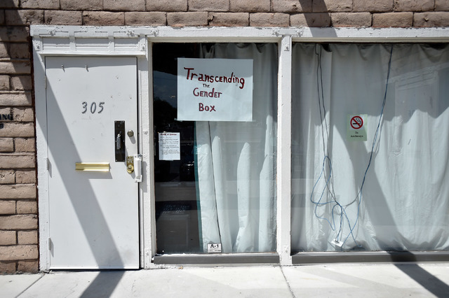 """The entrance to Transcending the Gender Box is seen Monday, Aug. 1, 2016, in Las Vegas. The community center offers the transgender community """"a place they can go to where they feel safe and jus ..."""