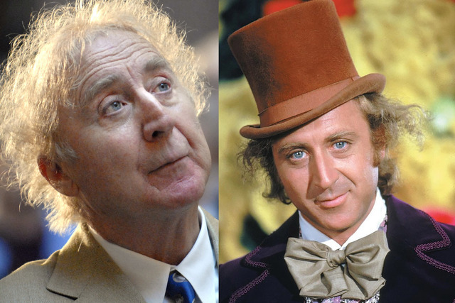 "Actor Gene Wilder on April 9, 2008 and a photo still from ""Willy Wonka & the Chocolate Factory."" (AP Photo/Facebook)"