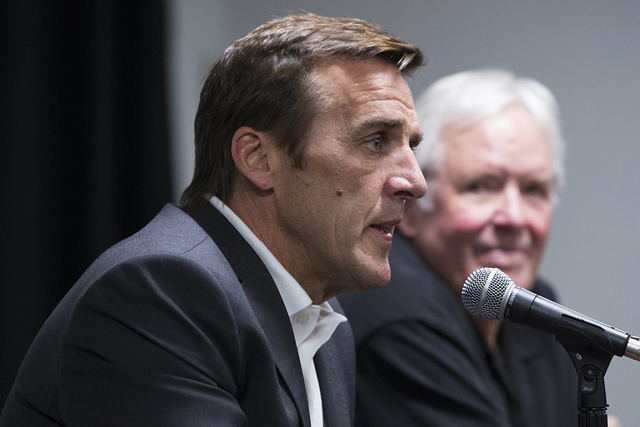 George McPhee, the general manager of Las Vegas' NHL expansion team, answers questions at a press conference at T-Mobile Arena on Wednesday, July 13, 2016, in Las Vegas. McPhee is in Europe scou ...