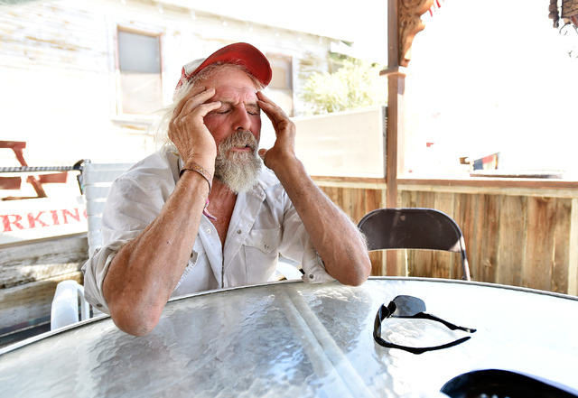 Michael Hopkins, aka Flash, thinks back on some of the original happenings during the early years of the Burning Man festival, Tuesday, Aug. 23, 2016, in Gerlach, Nev. Hopkins, who has been part o ...