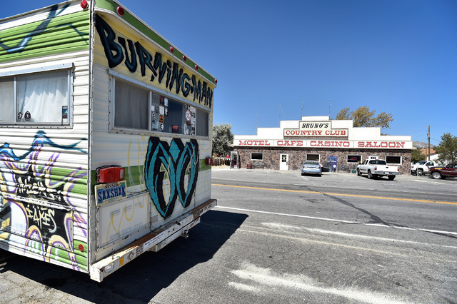 """A camper belonging to a long-time """"burner"""" is seen outside of Bruno's Country Club, Tuesday, Aug. 23, 2016, in Gerlach, Nev. The residents of the small northern Nevada town have  ..."""