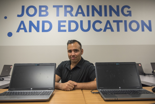 Jason Ali attends Goodwill of Southern Nevada's grand opening of its newest Career Connections center at the Boulevard Mall in Las Vegas on Thursday, Aug. 4, 2016. Ali, who is employed as an engin ...