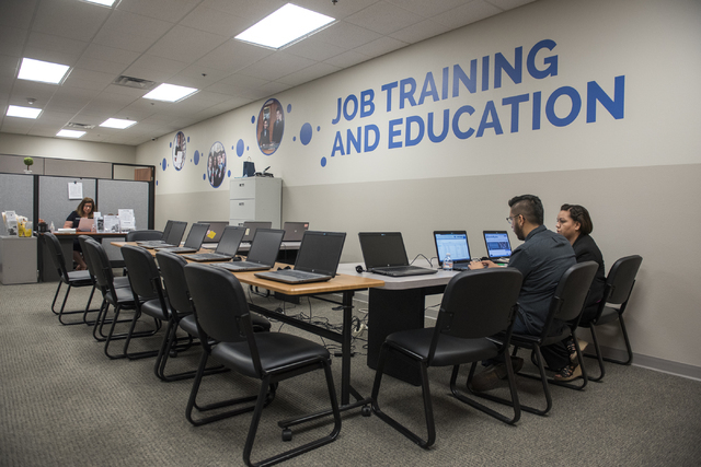 Attendees begin the process toward employment during Goodwill of Southern Nevada's grand opening of its newest Career Connections center at the Boulevard Mall in Las Vegas on Thursday, Aug. 4, 201 ...