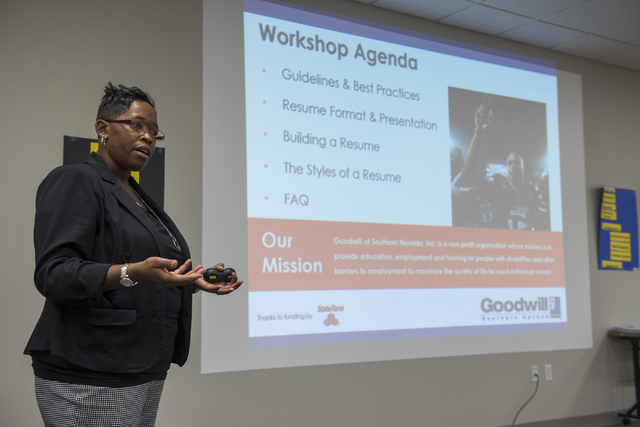 Workshop facilitator Stephanie Cochran teaches a resume esstentials class to attendees during Goodwill of Southern Nevada's grand opening of its newest Career Connections center at the Boulevard M ...