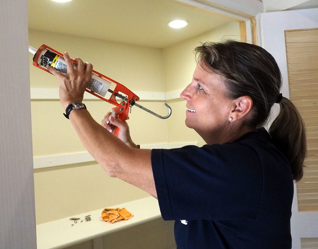 Retired Las Vegas police officer Laurie Bisch works on rehabbing a house in Las Vegas on Friday, Aug. 5, 2016. Jerry Henkel/Las Vegas Review-Journal.