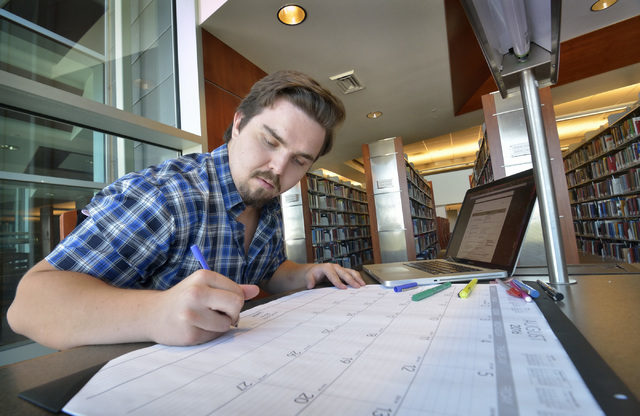 Zachary Cabanski, a special education major at UNLV in his senior year, works on his schedule for the coming semester at the Lied Library on campus in Las Vegas on Sunday, Aug. 28, 2016. (Bill Hug ...