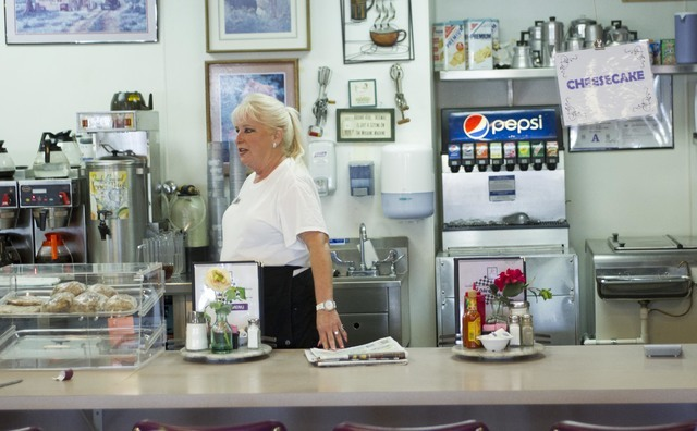 Long-time Lou's Diner waitress Patricia Misuraca, 58, stands at the counter as she works the breakfast shift at Lou's Diner in Las Vegas on Wednesday, August 3, 2016. (Richard Brian/Las Vegas  ...