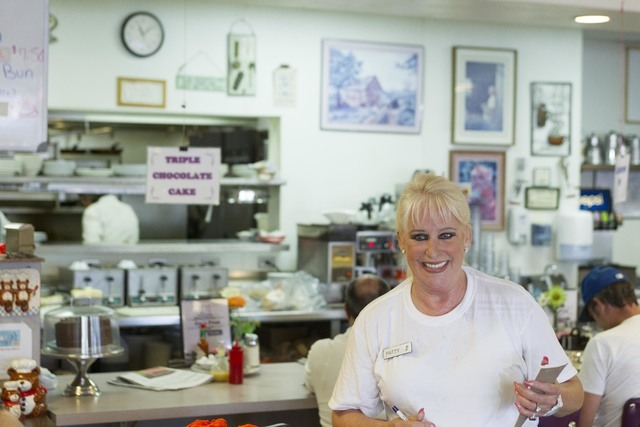 Long-time Lou's Diner waitress Patricia Misuraca, 58, takes an order from a guest as she works the breakfast shift at Lou's Diner in Las Vegas on Wednesday, August 03, 2016. (Richard Brian/Las ...