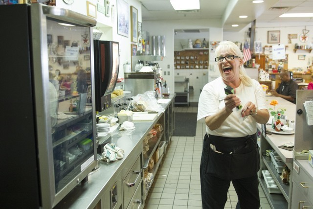 Long-time Lou's Diner waitress Patricia Misuraca, 58, laughs with a colleague as she works the breakfast shift at Lou's Diner in Las Vegas on Wednesday, August 03, 2016. (Richard Brian/Las Veg ...