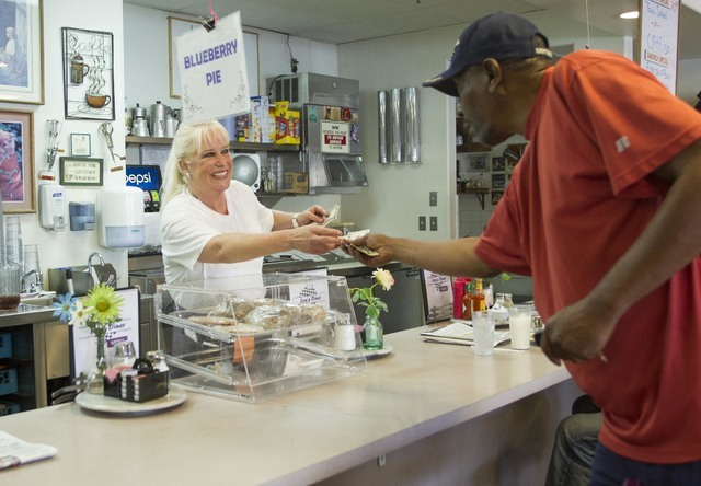 Long-time Lou's Diner waitress Patricia Misuraca, 58, checks out a customer as she works the breakfast shift at Lou's Diner in Las Vegas on Wednesday, August 03, 2016. (Richard Brian/Las Vegas ...