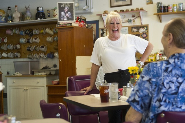 Long-time Lou's Diner waitress Patricia Misuraca, 58, talks with a guest as she works the breakfast shift at Lou's Diner in Las Vegas on Wednesday, August 03, 2016. (Richard Brian/Las Vegas Re ...