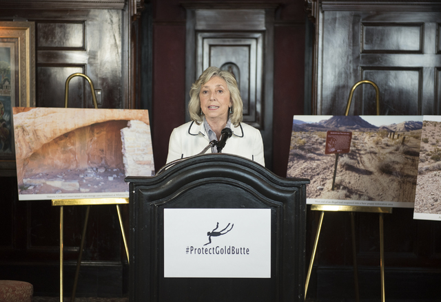 U.S. Rep. Dina Titus, D-Nev., speaks during a news conference at the Mandalay Bay hotel-casino in Las Vegas on Thursday, Aug. 18, 2016, to release the second Gold Butte damage report.  (Martin S.  ...
