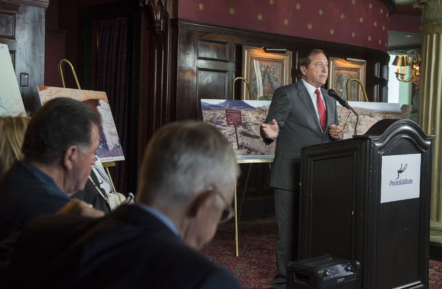 President/CEO Rossi Ralenkotter, right, speaks during a news conference at the Mandalay Bay hotel-casino in Las Vegas on Thursday, Aug. 18, 2016, to release the second Gold Butte damage report.  ( ...