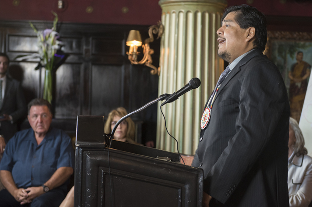 Former chairman of the Moapa Band of Paiutes William Anderson speaks during a news conference at the Mandalay Bay hotel-casino in Las Vegas on Thursday, Aug. 18, 2016, to release the second Gold B ...