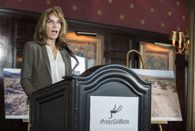 President of the Nevada Resort Association Virginia Valentine speaks during a news conference at the Mandalay Bay hotel-casino in Las Vegas on Thursday, Aug. 18, 2016, to release the second Gold B ...