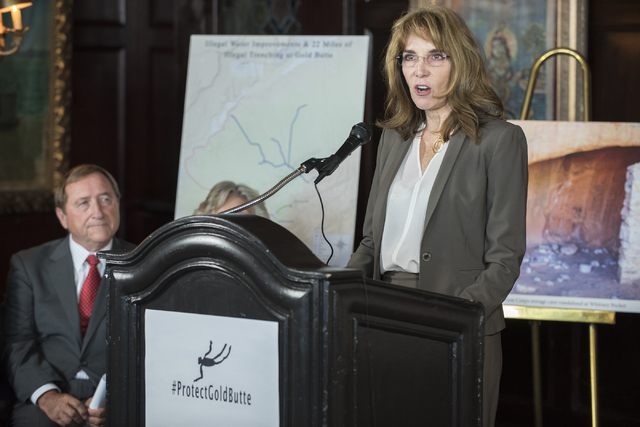 President of the Nevada Resort Association Virginia Valentine, right, speaks to the media during press conference announcing the release of the second Gold Butte damage report compiled by Friends  ...