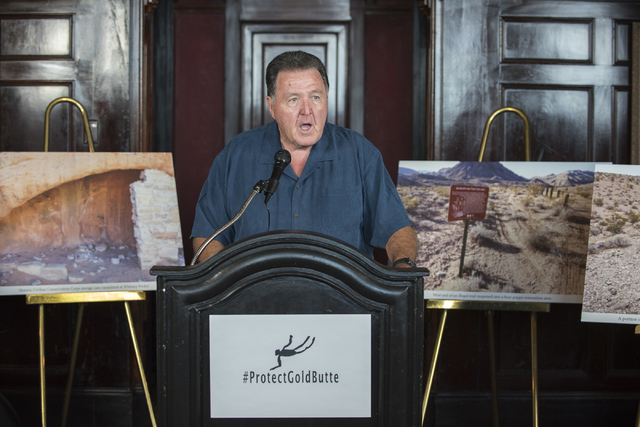 Former Nevada Sheriffs and Chiefs Association Executive Director Frank Adams speaks during a news conference at the Mandalay Bay hotel-casino in Las Vegas on Thursday, Aug. 18, 2016, to release th ...