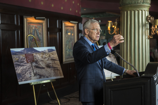 Sen. Harry Reid speaks speaks during a news conference at the Mandalay Bay hotel-casino in Las Vegas on Thursday, Aug. 18, 2016, to release the second Gold Butte damage report.  (Martin S. Fuentes ...