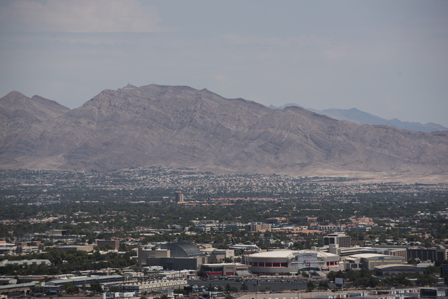 The location of Gold Butte is seen just behind the Frenchman Mountains, east of Las Vegas, from the Mandalay Bay hotel-casino during a news conference at the Mandalay Bay hotel-casino in Las Vegas ...