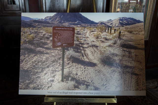 An image of Gold Butte is displayed during a news conference at the Mandalay Bay hotel-casino in Las Vegas on Thursday, Aug. 18, 2016, to release the second Gold Butte damage report. Martin S. Fue ...