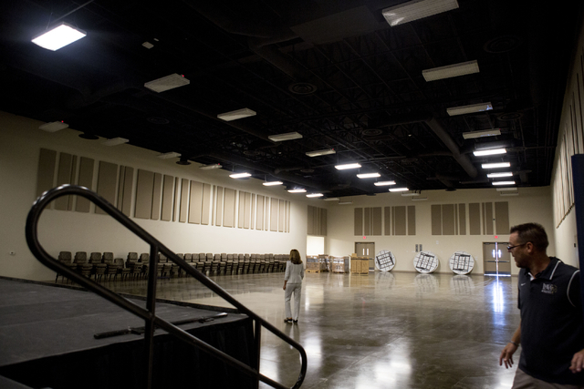 Staff of Lake Mead Christian Academy give a tour of the newly expanded campus on Wednesday, Aug. 10, 2016, in Henderson, that will be ready in time for the new school year. Elizabeth Page Brumley/ ...