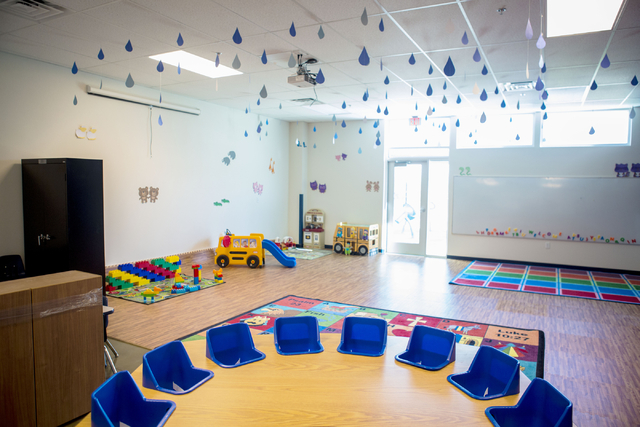 A early education room in the newly expanded Lake Mead Christian Academy is recently finished and ready for the new school year in the new campus on Wednesday, Aug. 10, 2016, in Henderson. Elizabe ...