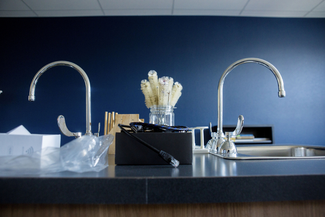 Chemistry tools are placed on sinks in Lake Mead Christian Academy's new science lab in the recently expanded campus on Wednesday, Aug. 10, 2016, in Henderson. Elizabeth Page Brumley/Las Vegas Rev ...