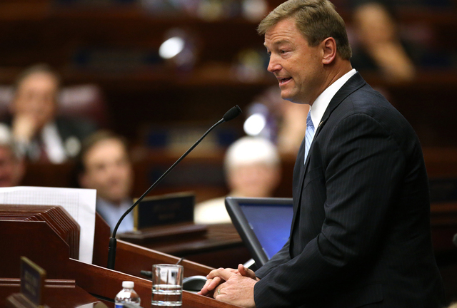 Republican U.S. Sen. Dean Heller speaks to a joint session of the Nevada Legislature in Carson City on Monday, April 6, 2015. (Cathleen Allison/Las Vegas Review-Journal)
