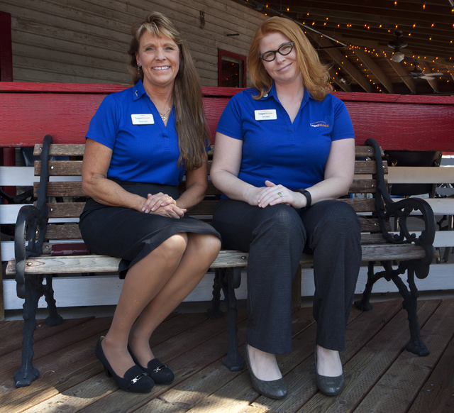 "LegalShield Associates Susan Smith, left and Lori Algieri pose outside of Joe's Crab Shack where they hold their ""Meet and Eat"" event twice a month in Henderson on Thursday, Aug. 25, 2016. (Loren  ..."