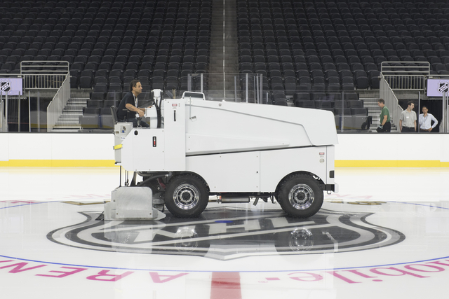 A zamboni driver prepares the newly installed ice prior to members of the Storm Youth Hockey organization skate at T-Mobile Arena in Las Vegas Wednesday, Aug. 3, 2016. (Jason Ogulnik/Las Vegas Rev ...