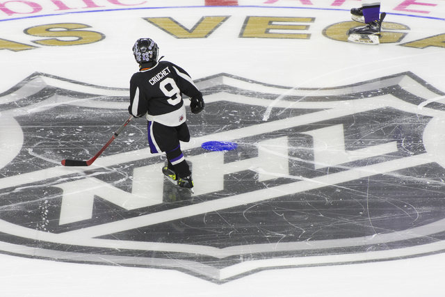 Members of the Storm Youth Hockey organization skate on the newly installed ice at T-Mobile Arena in Las Vegas Wednesday, Aug. 3, 2016. (Jason Ogulnik/Las Vegas Review-Journal)