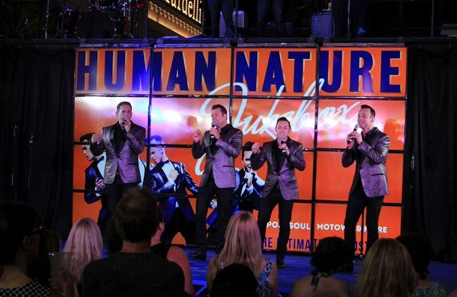 "Human Nature perform during a taping of ""The Weekend in Vegas"" on Aug. 18 at The Linq Promenade. (Courtesy Ira Kuzma)"