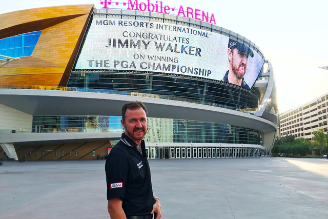 Jimmy Walker stands in front of the T-Mobile Arena  after winning the PGA Championship on Sunday by a stroke over Jason Day. (Photo courtesy MGM).