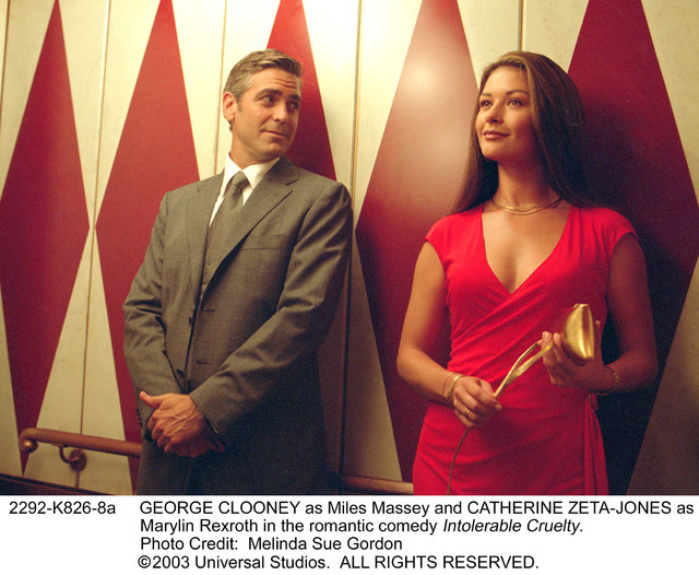 """In the romantic comedy """"Intolerable Cruelty,"""" a Caesars Palace elevator provides the backdrop for divorce attorney Miles Massey (George Clooney) to pursue many-times-divorced Marylin Rexroth (Cath ..."""