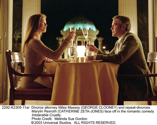 """Repeat divorcee Marylin Rexroth (Catherine Zeta-Jones) and renowned divorce attorney Miles Massey (George Clooney) face off -- with Caesars Palace's famous facade in the background -- in 2003's """"I ..."""