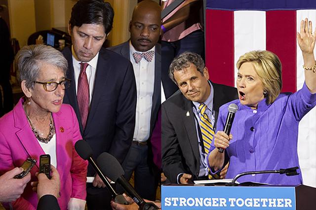 State Sen. Hannah-Beth Jackson, D-Santa Barbara on Thursday, June 30, 2016 and Democratic presidential nominee Hillary Clinton on July 18, 2016.  (AP and Reuters)