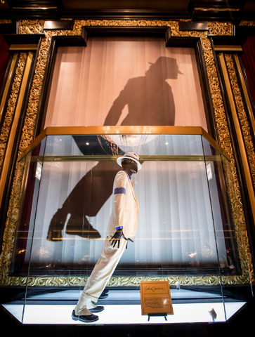 "The suit and fedora worn by Michael Jackson in the ""Smooth Criminal"" video is now on display at Michael Jackson One Theater at Mandalay Bay. (Erik Kabik photo)"