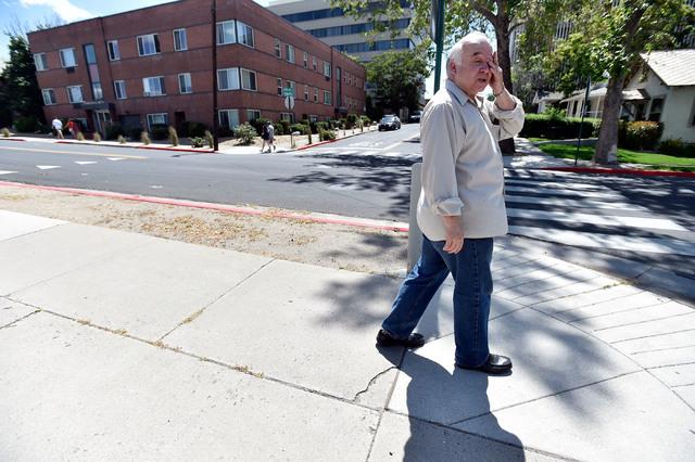 Joseph Galata walks to a social services appointment Tuesday, June 7, 2016, in Reno. (David Becker/Las Vegas Review-Journal) Follow @davidjaybecker