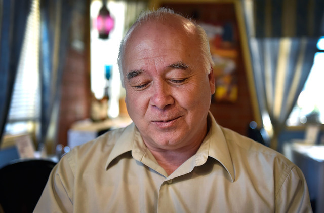 Joseph Galata pauses as he recalls a recent conversation he had from a former student Tuesday, June 7, 2016, in Reno. The student had called during an airport layover, on her way to give the keyno ...