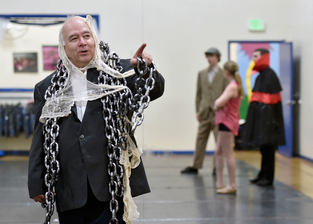 Joseph Galata, dressed in costume, visits with students during a dance rehearsal Tuesday, June 7, 2016, in Reno. (David Becker/Las Vegas Review-Journal) Follow @davidjaybecker