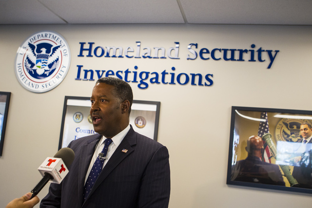Peter Edge, executive associate director of Homeland Security Investigations within Immigration and Customs Enforcement, speaks during a tour following the ribbon cutting ceremony for the Federal  ...