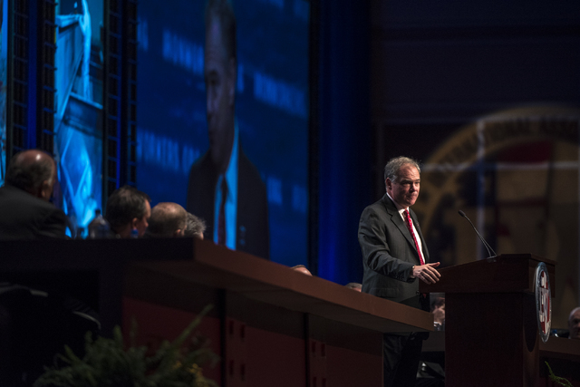 Democratic vice presidential nominee Tim Kaine speaks during the Iron Workers International 43rd Convention at The Mirage hotel-casino in Las Vegas on Monday, Aug. 22, 2016. Joshua Dahl/Las Vegas  ...