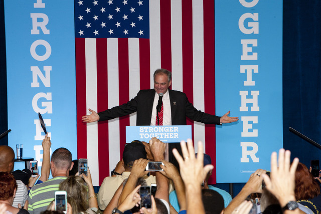 Democratic vice presidential candidate Sen. Tim Kaine, D-Va., greets the crowd at the Local 525 Plumbers & Pipefitters Training Center at 750 Legion Way in Las Vegas on Monday Aug 22, 2016. Je ...